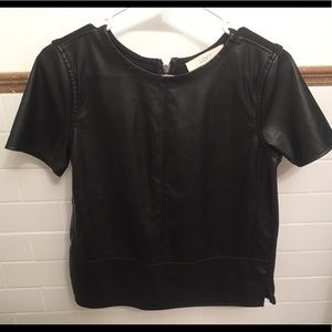 The LOFT faux leather top in XS