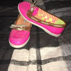 Neon Pink Boat Shoes
