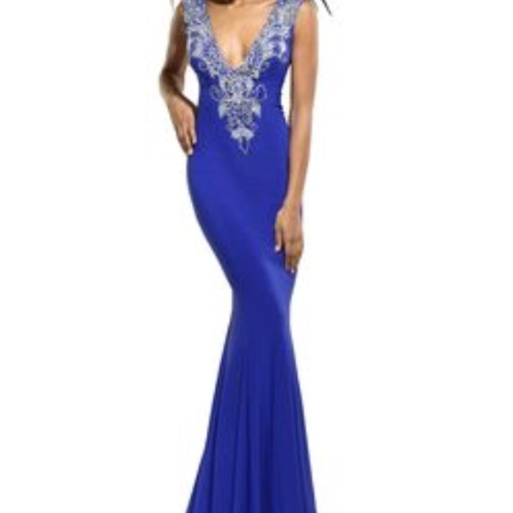 Xcite Prom Dresses | Xcite Beaded Gown In Blue | Poshmark