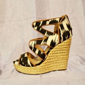 JustFab Graphic Canvas Black and Tan Wedges