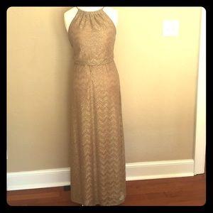 Gold Halter Full Length Formal Dress by BisouBisou