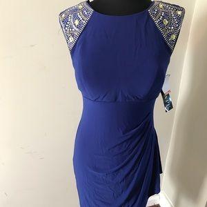 Navy Blue Embellished Sleeve Cocktail Dress