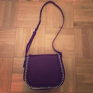 Maroon over the shoulder bag with silver chain