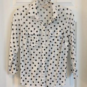 Loft white with black polka dots blouse
