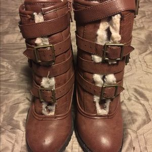 Qupid brown wedges booties full lined inside