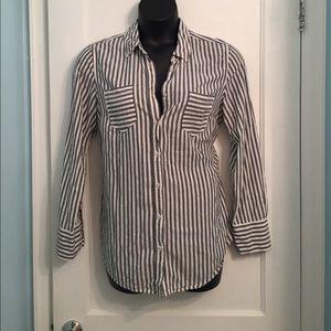 Merona Grey & White Striped Button Down Top