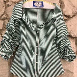 Zara Wide Open Neck Striped Shirt W/ Puffy Sleeves