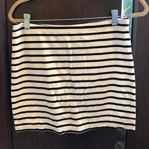 H&M Basics BW Stripe Cotton Mini Skirt