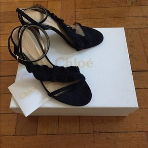 Chloé navy block heel sandals