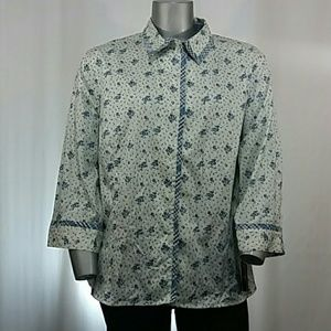 NWT Blue Floral 3/4 Sleeve Button Blouse, 3X