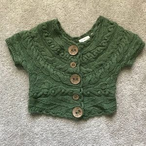Anthropologie Green Cropped Sweater Large Buttons