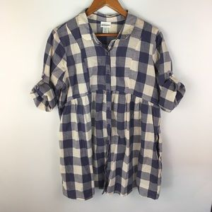 Maternity plaid checkered tunic top blouse