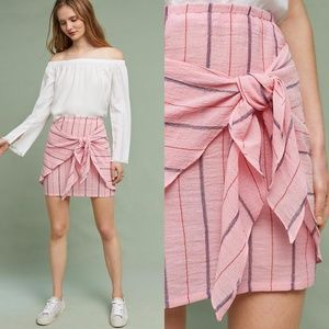 New HOLDING HORSES Stripe Tie-Front Mini Skirt NWT