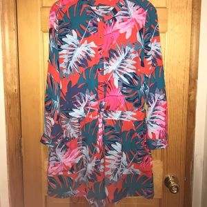 Tropical printed romper with adjustable waist