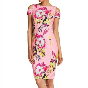 Tahari floral cold shoulder sheath dress