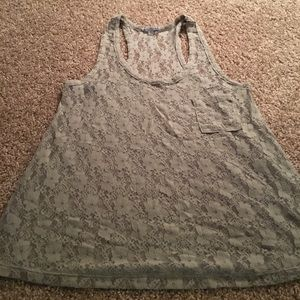Gray lace tank top