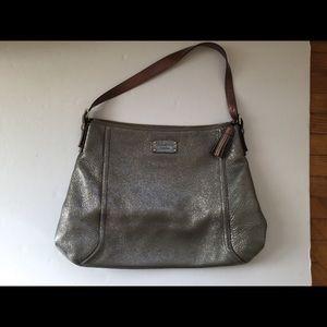 Kate Spade silver metallic bag tote. Leather