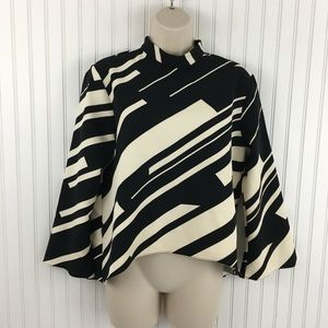 Zara striped high neck bell sleeve Blouse