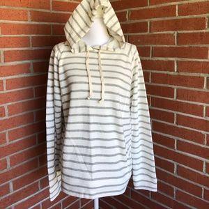 J. Crew Striped Pullover Hoodie Sweatshirt