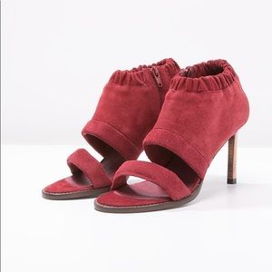 Free people red suede stiletto sandals size 39