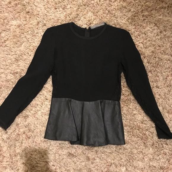 Zara Tops Peplum Blouse With Lace Leather Size Small Poshmark