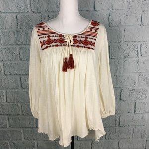 Nine West White Aztec Boho Peasant Blouse
