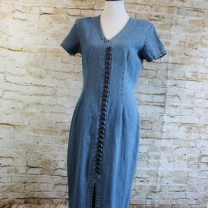 Denim Maxi with Slit and Button Detail Vintage