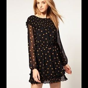 ASOS Vera Moda long sleeve polka mini dress