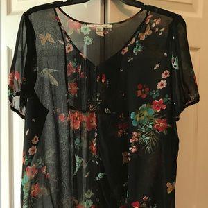 American Rag - Short Sleeve Sheer Floral Blouse
