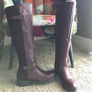 Knee high quilted riding boots
