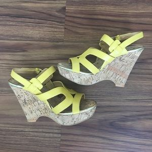 Nine West Yellow strap and cork wedges 7.5