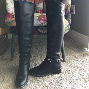 Over the knee faux leather boots