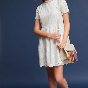 Anthropologie - Maeve White Eyelet Dress