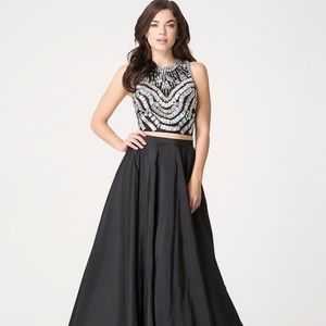 Bebe two piece embellished gown