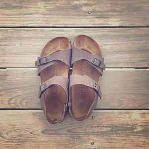 Birkenstock Brown Leather 265 Two-Buckle Size 10