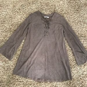 Suede lace up dress tunic by Lush- never worn🔥