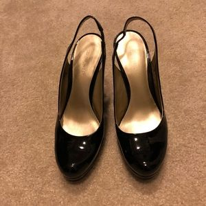 Nine West patent leather wedge pumps
