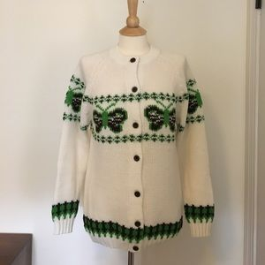 Vintage Butterfly Cardigan Sweater, 1970s/80s