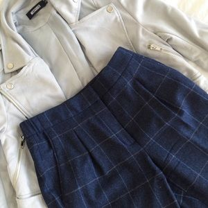 Massimo Dutti Checked Navy Trousers, size 2