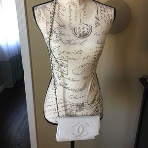 Authentic white chanel crossbody bag