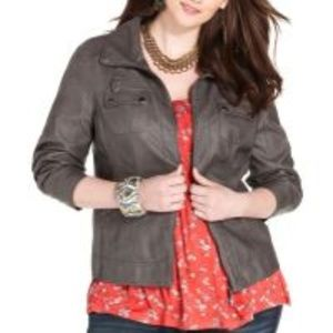 Woman Grey Faux LeatherJacket