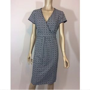 Boden Navy and Blue geometric print dress size 10