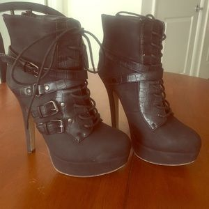 Black Lace Up 5-in Stiletto Boots
