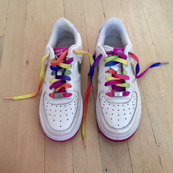 Girls Nike Air Force 1 Rainbow Lace Sneakers