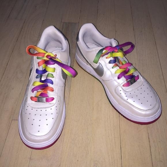cc3552cf1b8 Girls Nike Air Force 1 Rainbow Lace Sneakers. M 59ecc9ad56b2d6bfd8087456
