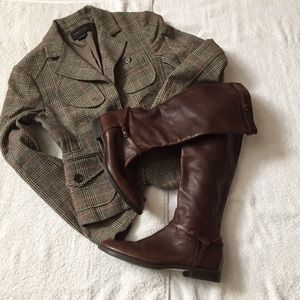 J. Crew Chocolate Brown Leather Knee High Boots