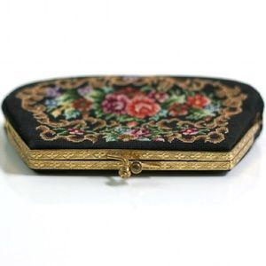Vintage Mid Century Floral Change Purse Clutch