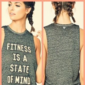 """""""Fitness is a state of mind"""" muscle tee"""