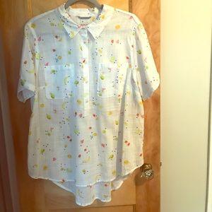 Merona Button Up Fruit Shirt, XXL