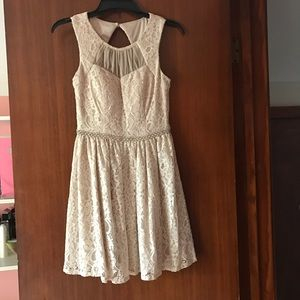 Dresses & Skirts - Lace beige homecoming dress!